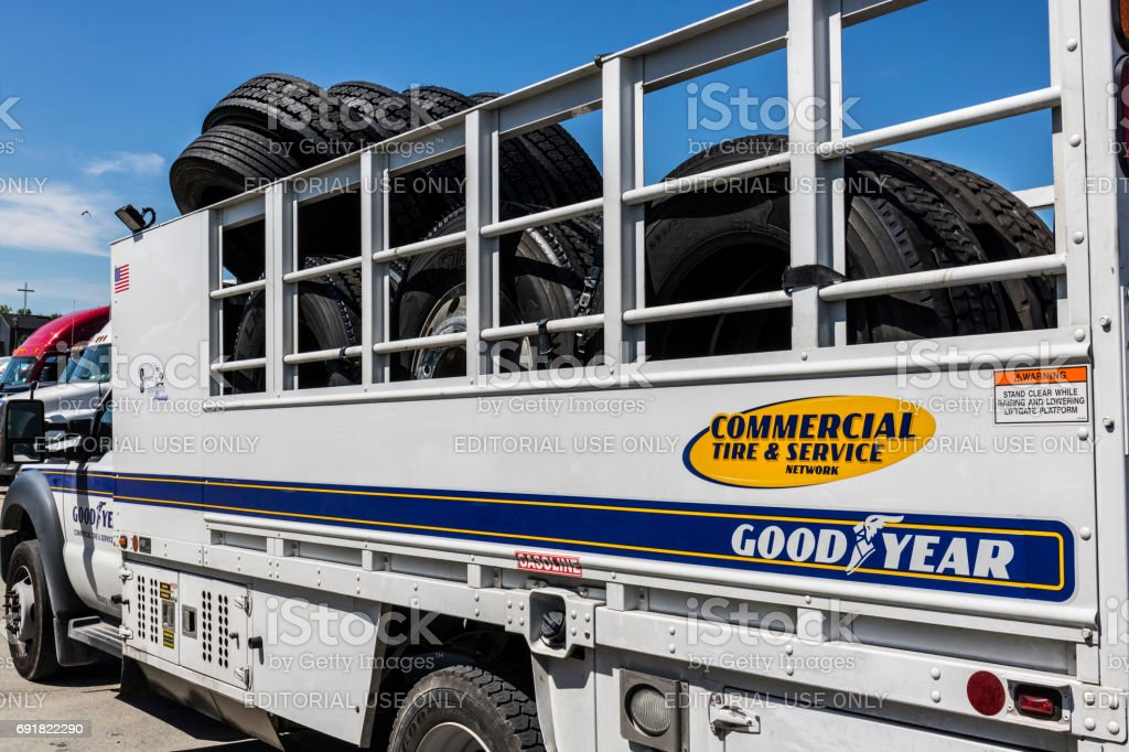 Indianapolis - Circa June 2017: Goodyear Commercial Tire and Service Vehicle. Goodyear provides tires and services for Big Rig Semi Tractor Trailer Trucks II stock photo
