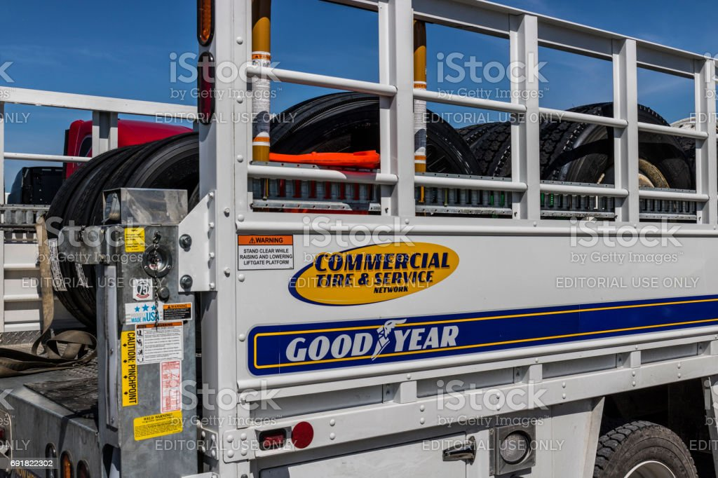 Indianapolis - Circa June 2017: Goodyear Commercial Tire and Service Vehicle. Goodyear provides tires and services for Big Rig Semi Tractor Trailer Trucks III stock photo