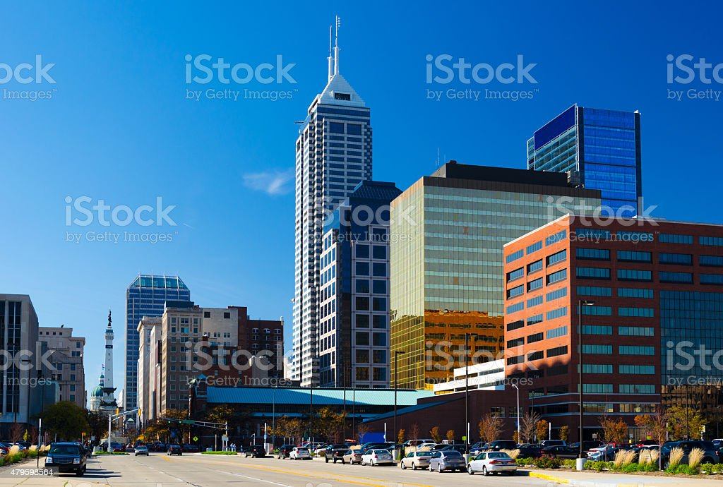 Indianapolis downtown skyline with Soldiers and Sailors Monument stock photo
