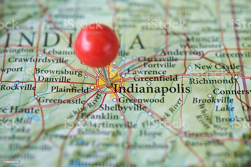 Indianapolis on a map royalty-free stock photo
