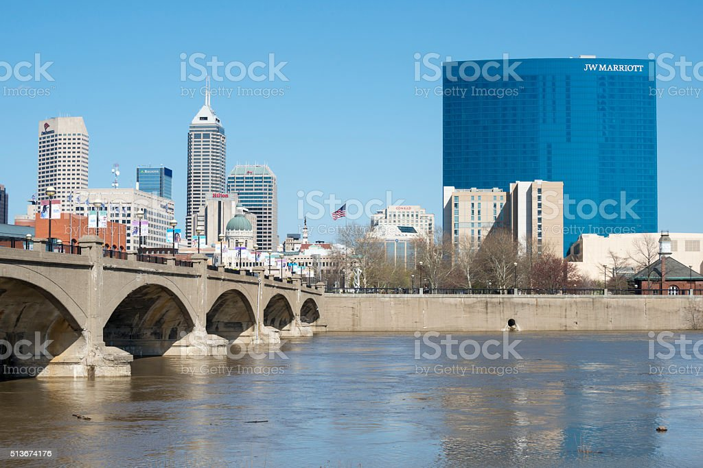 Indianapolis skyline and White River stock photo