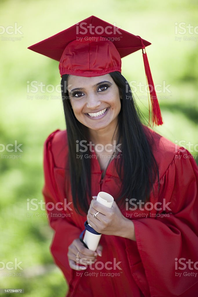 Indian-Asian Girl On Graduation Day royalty-free stock photo