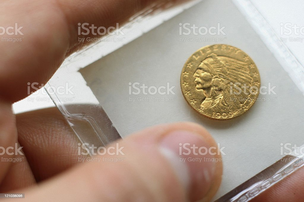 U.S. 1909 Indian-Head Gold Coin stock photo