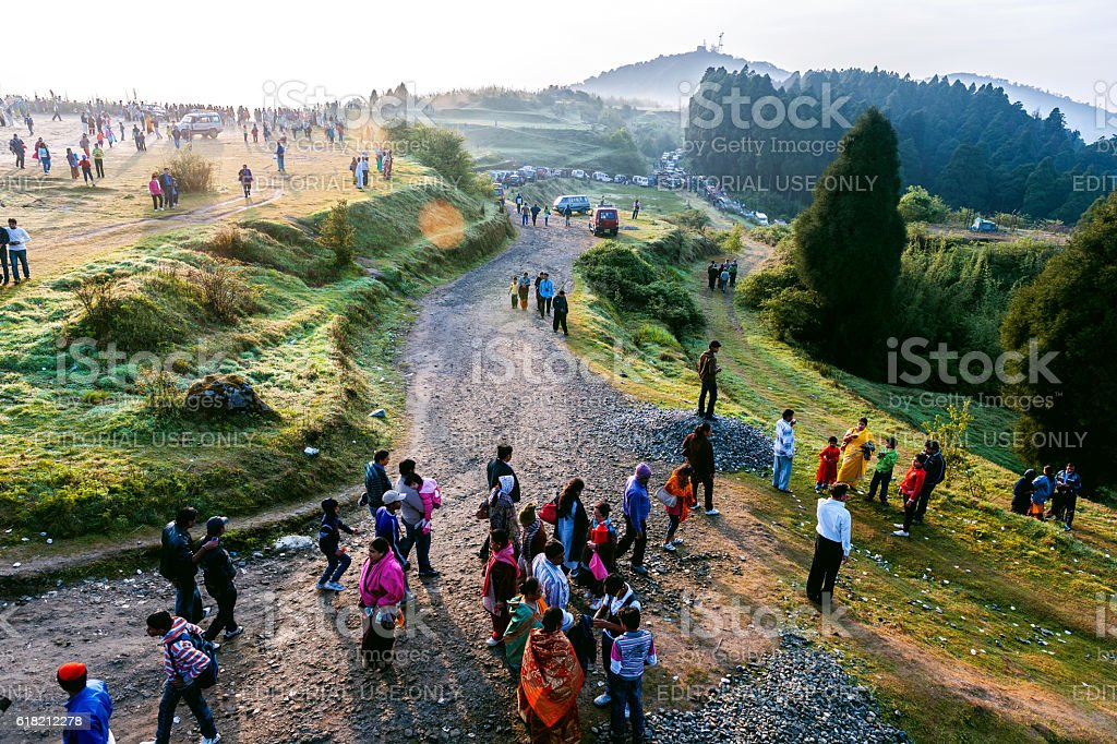 Indians on Tiger Hill Watching Sunrise, Darjeeling, West Bengal, India stock photo