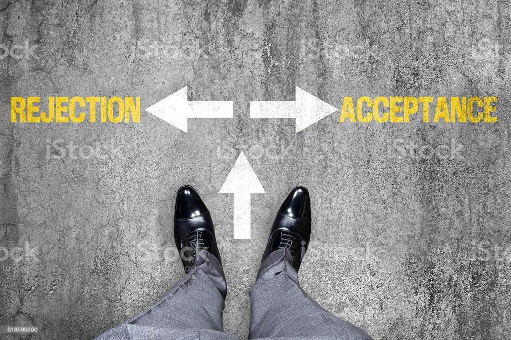 Indicating signs of rejection and acceptance stock photo