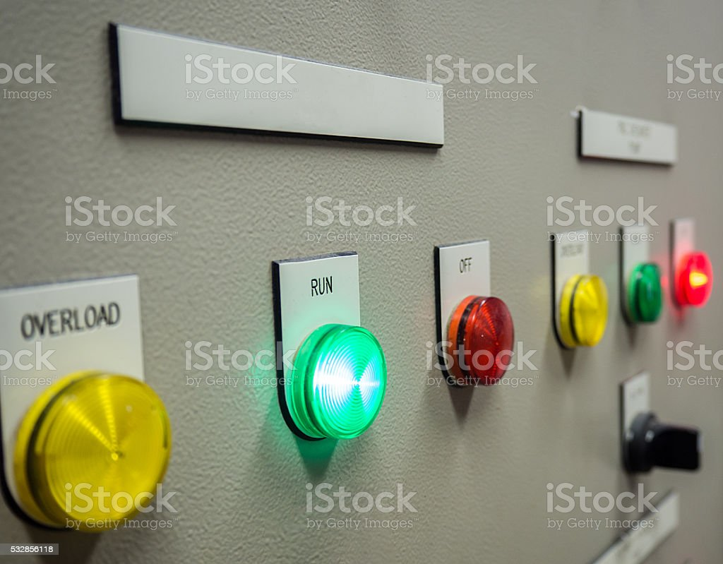 indicator light on electrical control panel. stock photo
