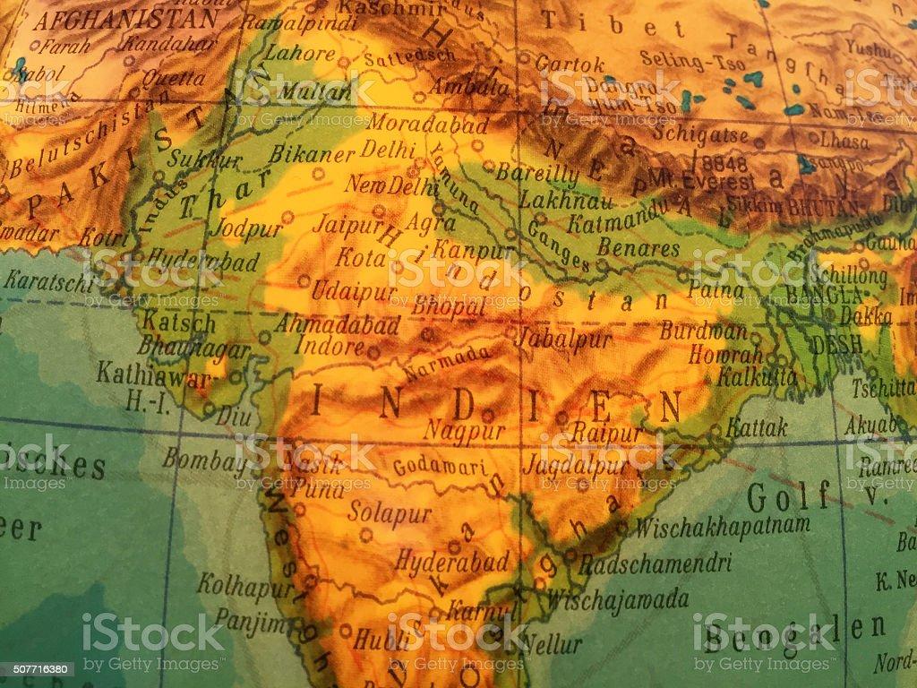 Indien , Landkarte - Alter Globus / Weltkarte stock photo