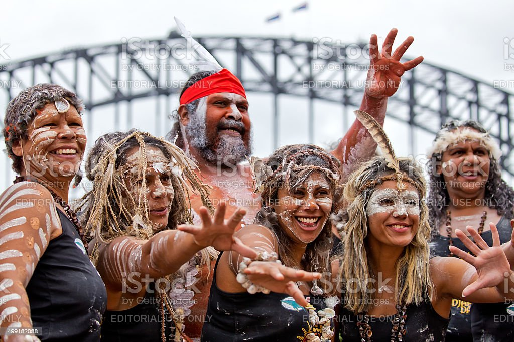 Indigenous dancers at Homeground indigenous Festival in Sydney stock photo