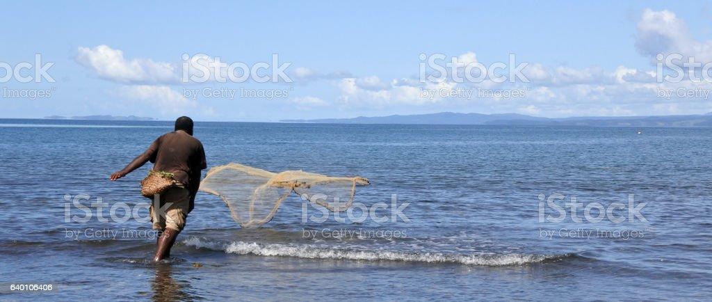 Indigenous Fijian fisherman throwing fishing net in Fiji stock photo