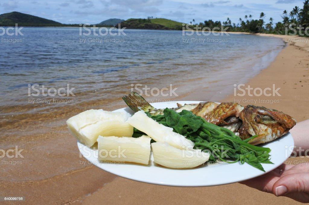 Indigenous Fijian seafood and vegetables dish Fiji stock photo