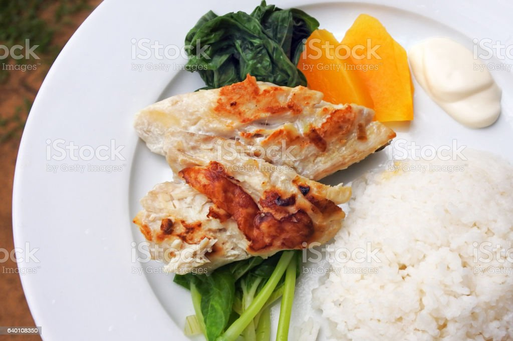 Indigenous Fijian seafood and vegetables dish stock photo