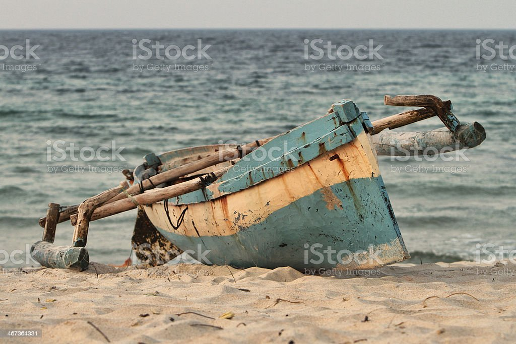 Indigenous fishing boat on Mozambique beach stock photo