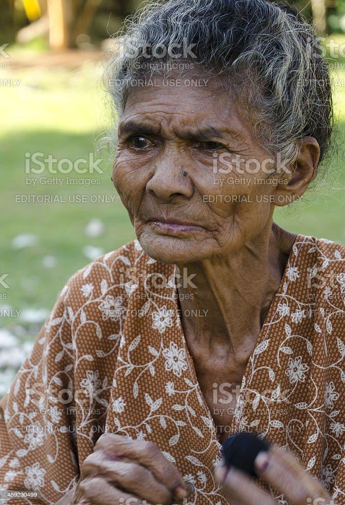 Indigenous Indonesian senior woman stock photo