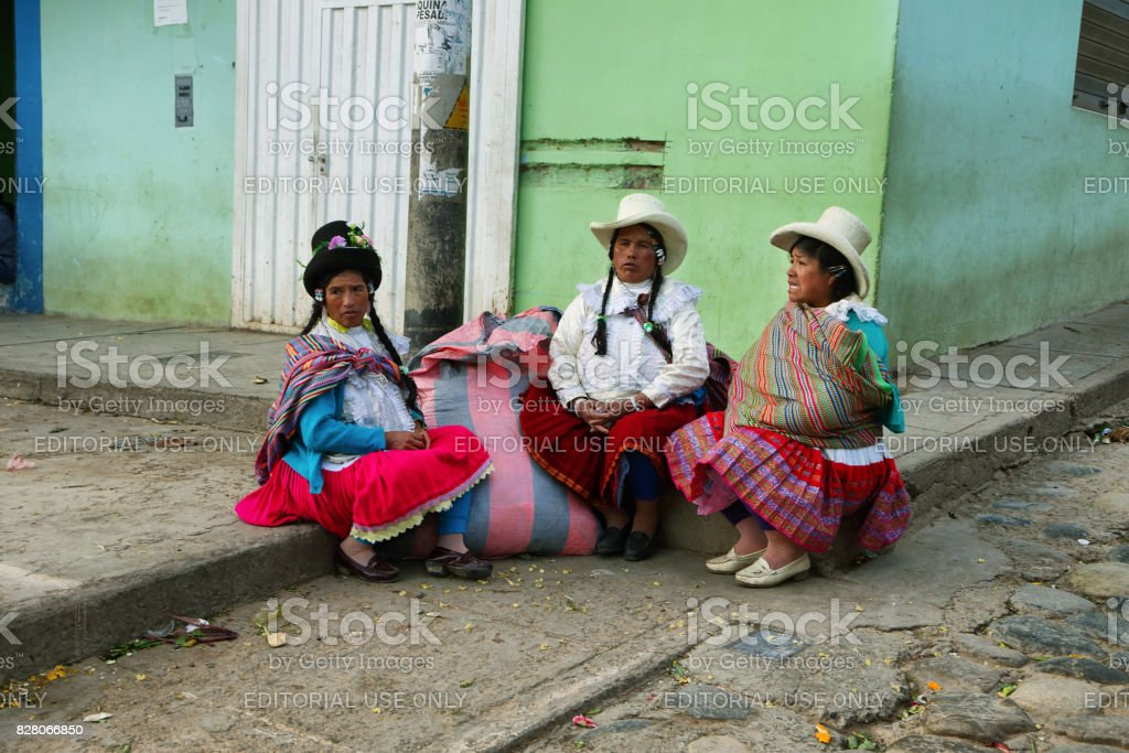 Indigenous latin american women with colorful clothes in Yungay, Peru stock photo