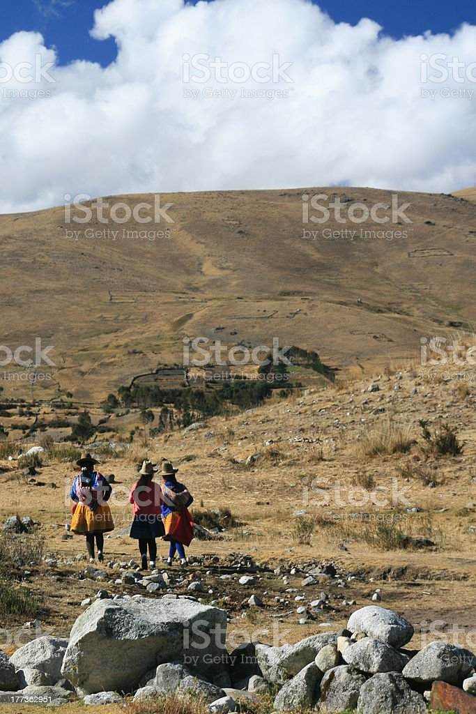 indigenous people in the peruvian andes stock photo