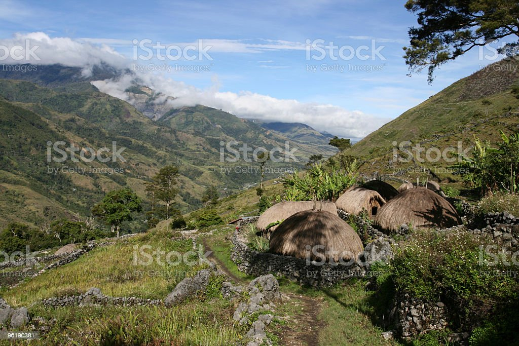 Indigenous tribe Settlement above Baliem Valley stock photo