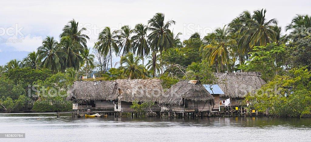 Indigenous Village Near Bocas Del Toro Panama royalty-free stock photo