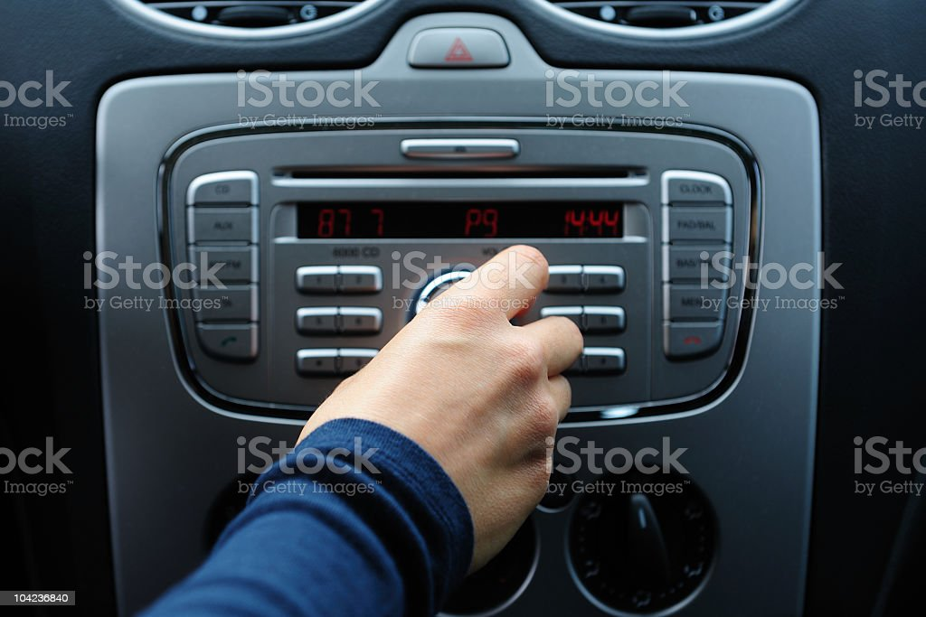 Individual adjusting car audio control system stock photo