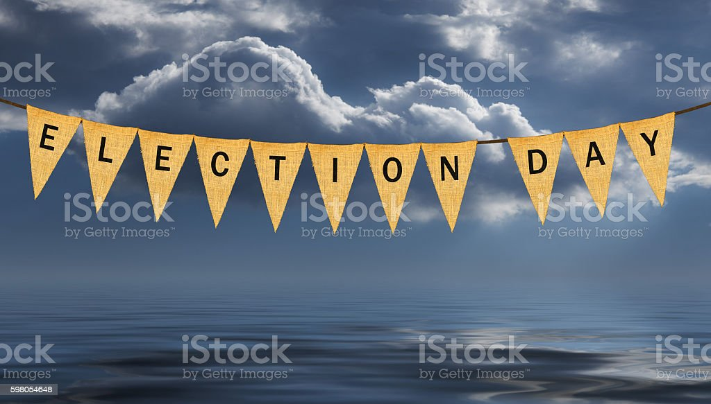 Individual cloth pennants or flags with Election Day stock photo