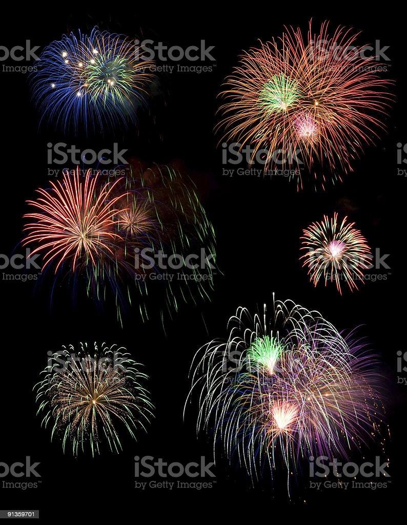 Individual fireworks stock photo