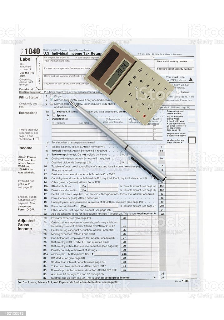 Individual Income Tax Form for United States stock photo