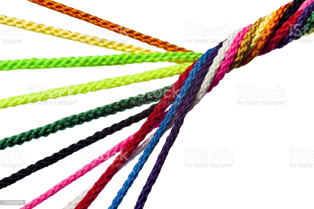 Individual Strands Joining Together As Team, Family, Business or Network stock photo