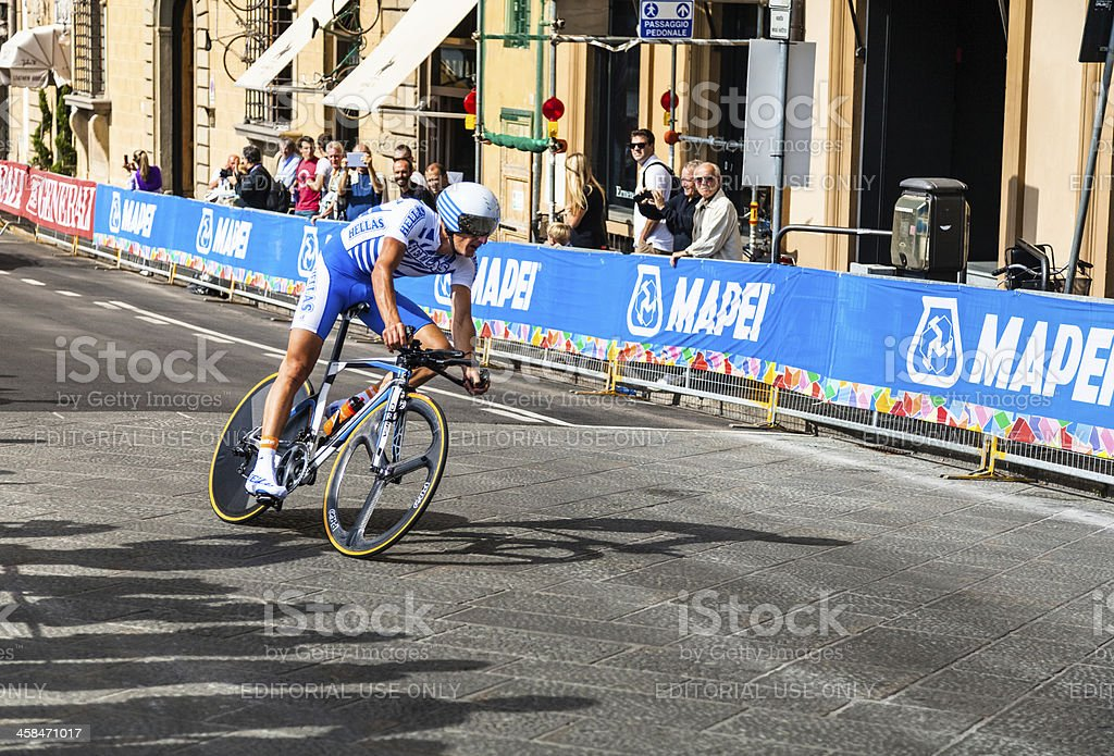 Individual time trial greek runner. Firenze World Championships road cycling stock photo