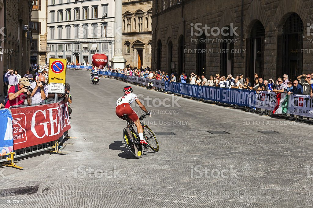 Individual time trial World Championships cycling in Santa Trinita's square royalty-free stock photo