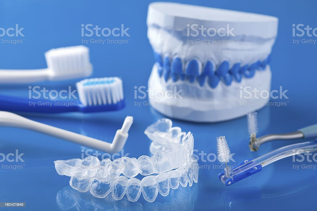 individual tooth tray for whitening and toothbrushes royalty-free stock photo