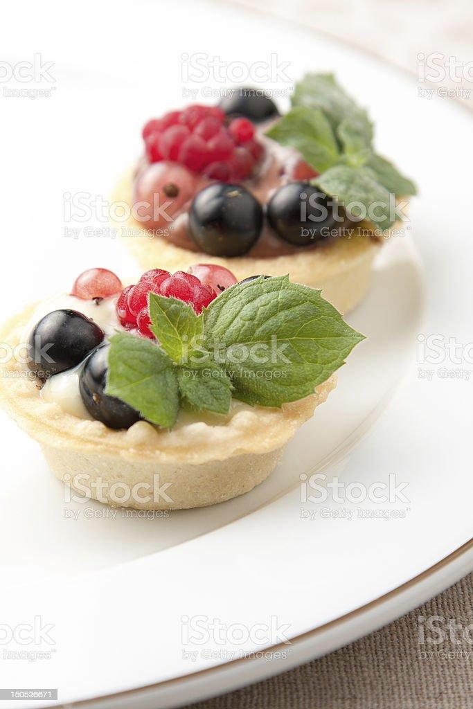 Indiviual freshly baked fruit tartlets royalty-free stock photo