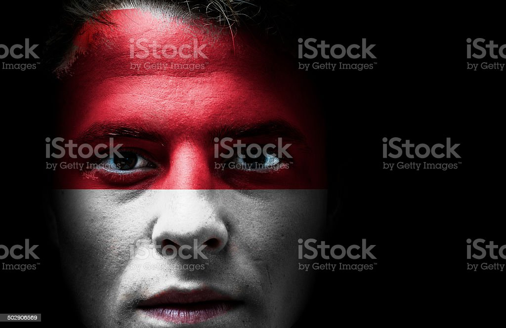 Indonesia Flag on face stock photo