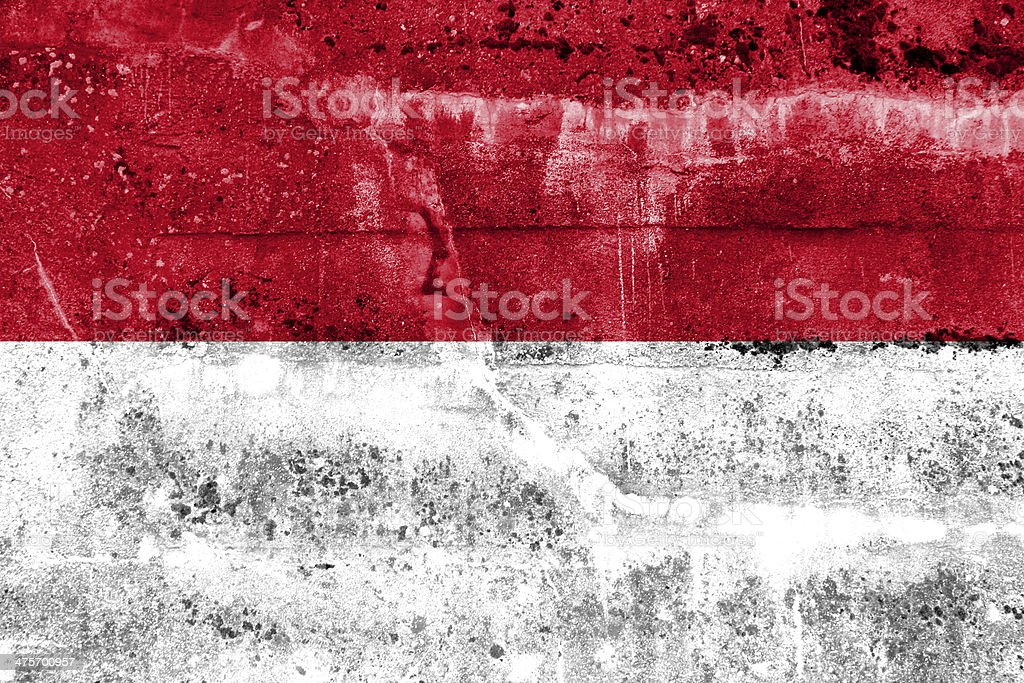 Indonesia Flag painted on grunge wall stock photo