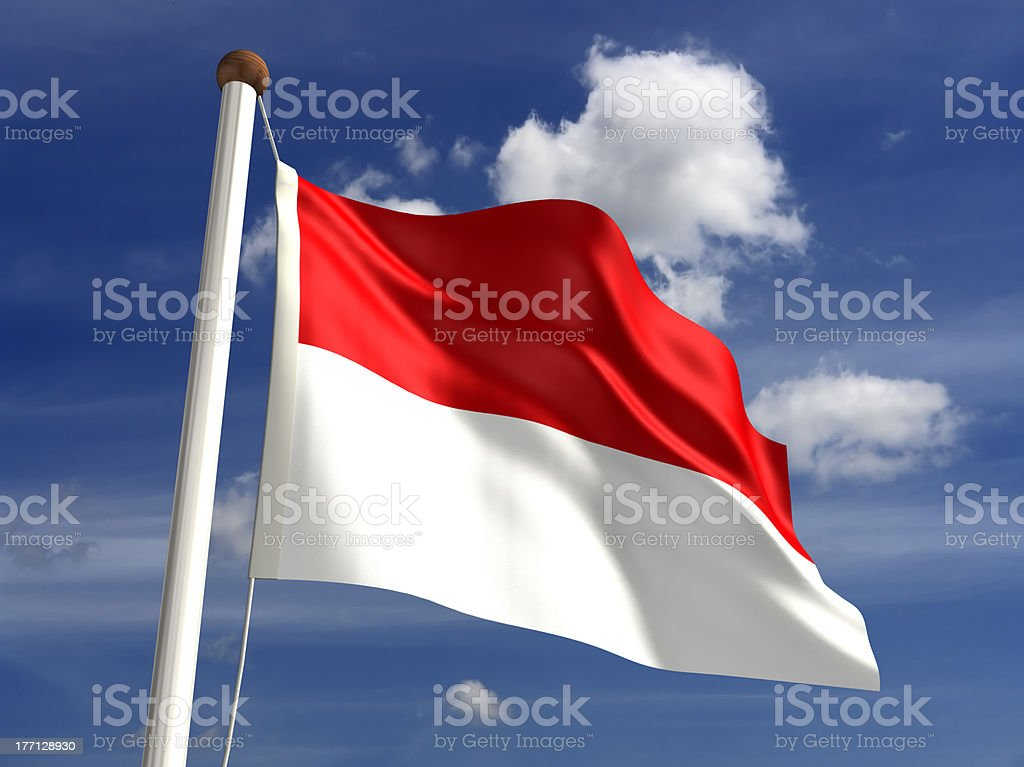 Indonesia flag (with clipping path) stock photo