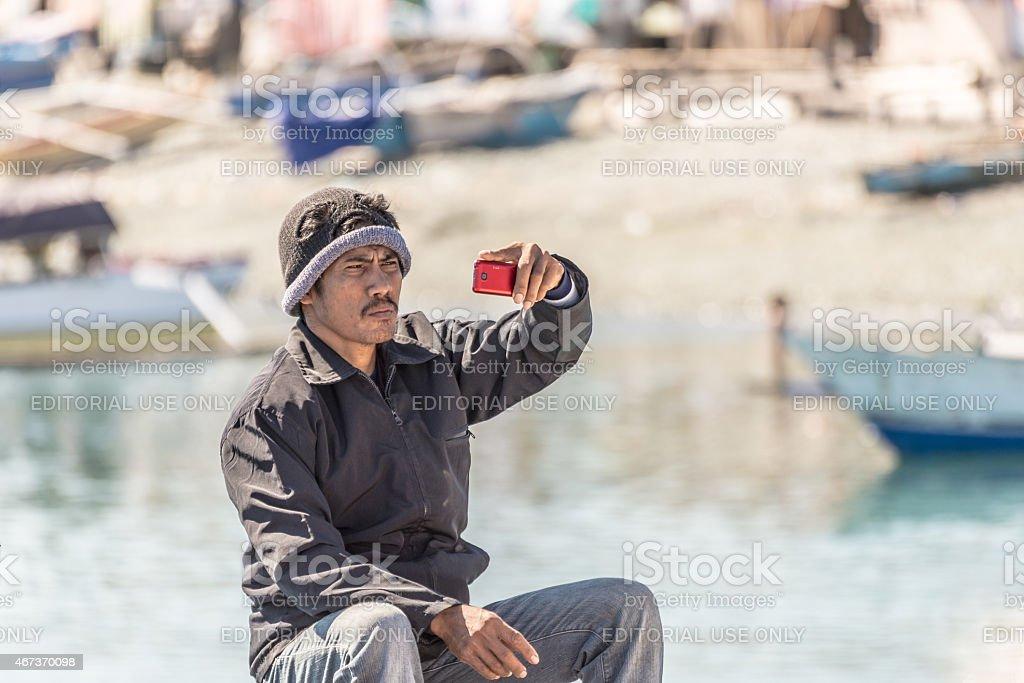 Indonesia: local people taking selfie stock photo