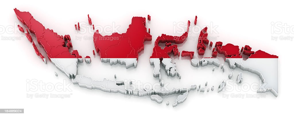 Indonesia map with flag stock photo