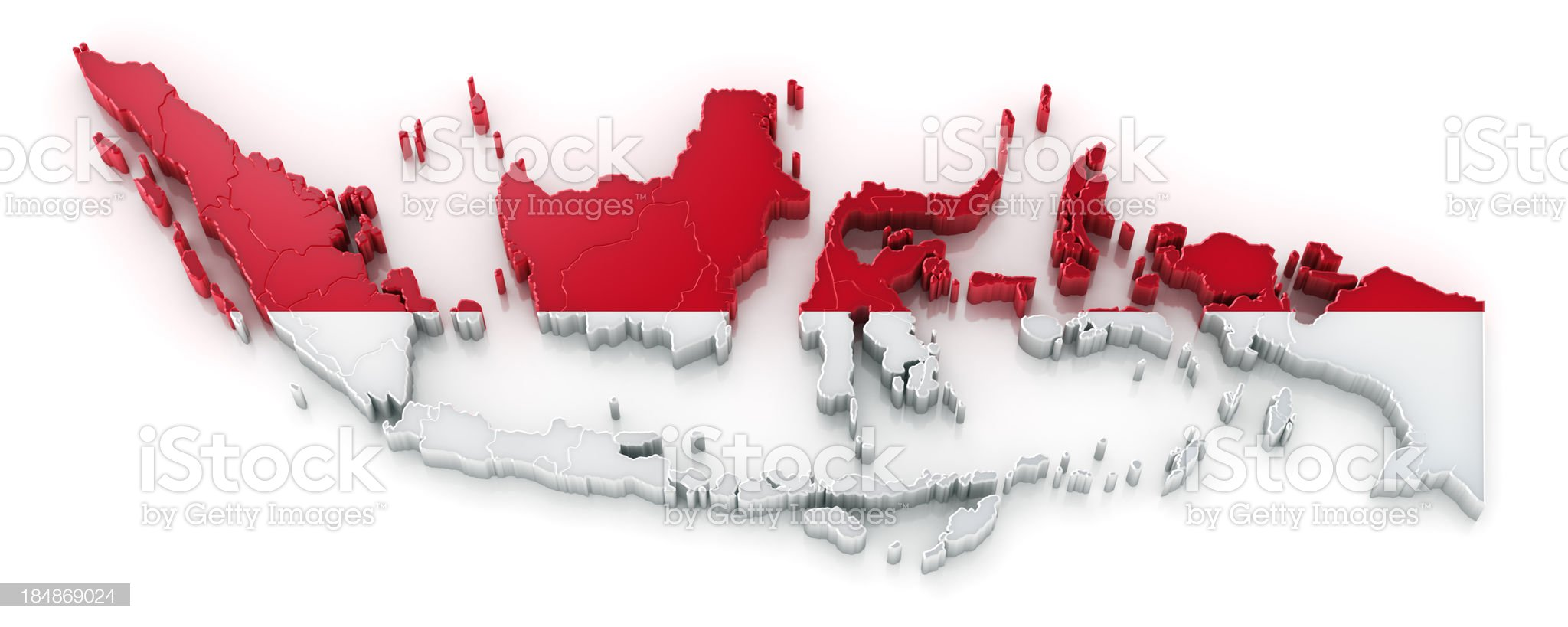 Indonesia map with flag royalty-free stock photo