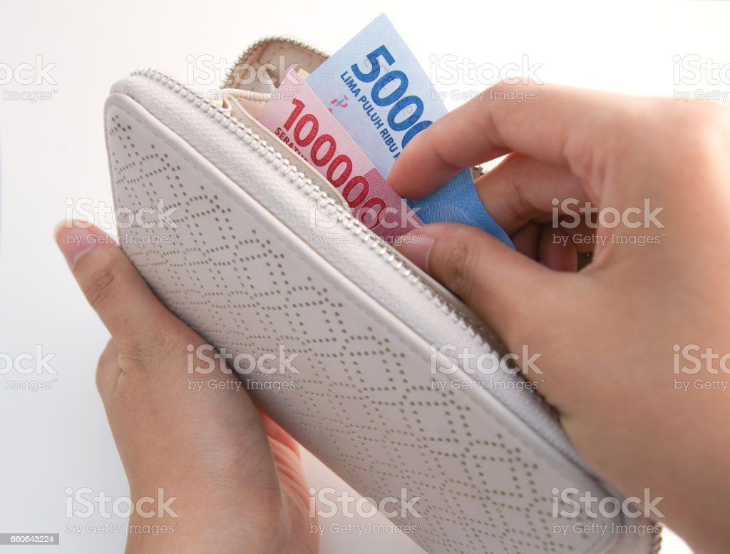 Indonesia Money Rupiah inside purse stock photo