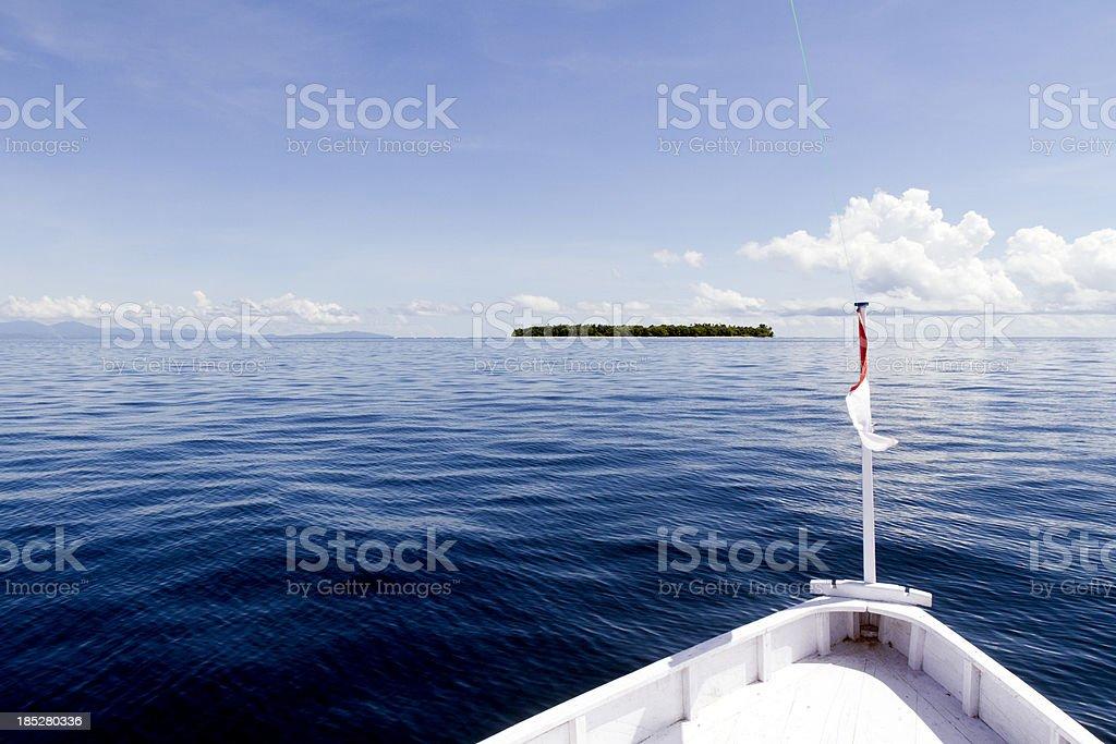 Indonesia, North Maluku, Halmahera, boat on the Pacific Ocean. stock photo