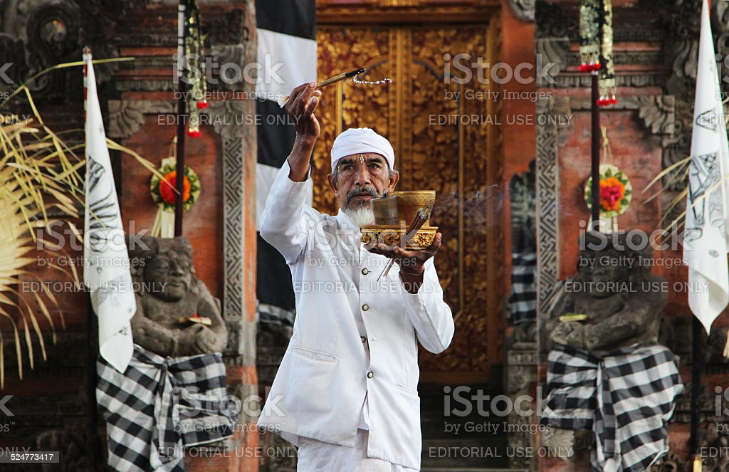 Indonesia: Priest Blessing The Barong Ceremony Site stock photo