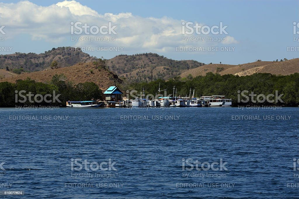 Indonesia: Ships and Boats at Rinca Island stock photo