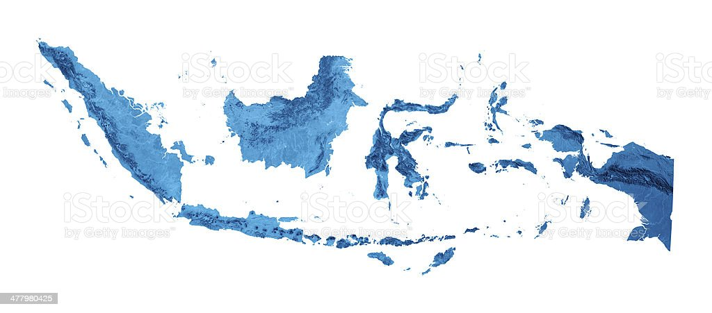 Indonesia Topographic Map Isolated royalty-free stock photo