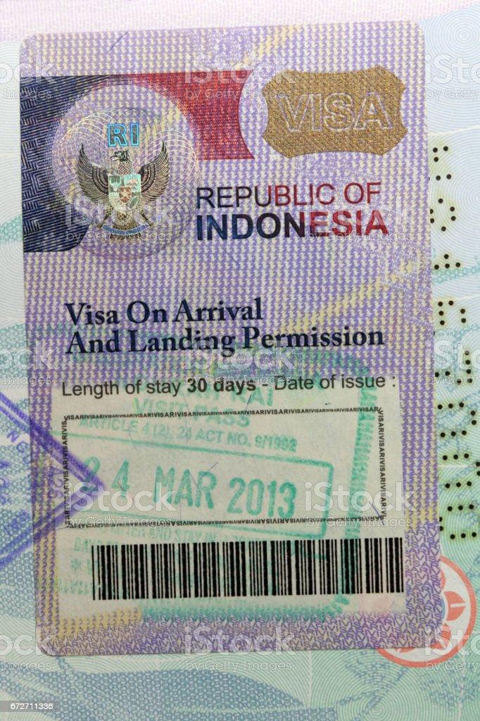 Indonesia visa stock photo