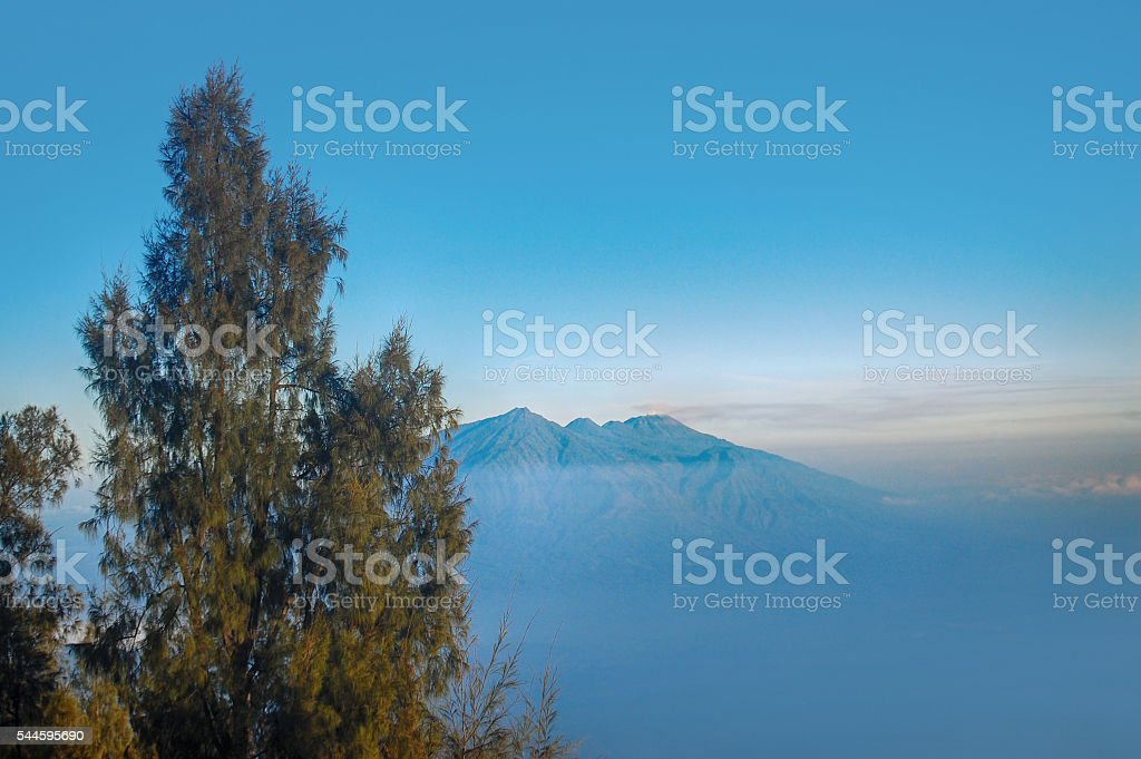 Indonesia volcano from far in Bromo Tengger Semeru National Park stock photo