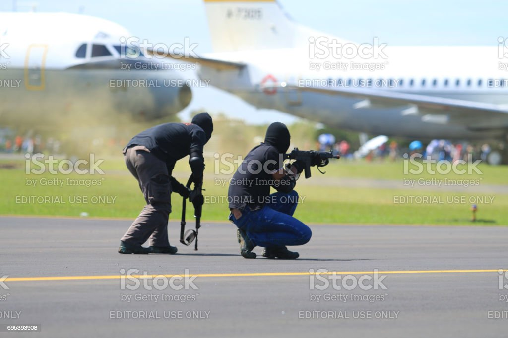 Indonesia war against terrorists. stock photo