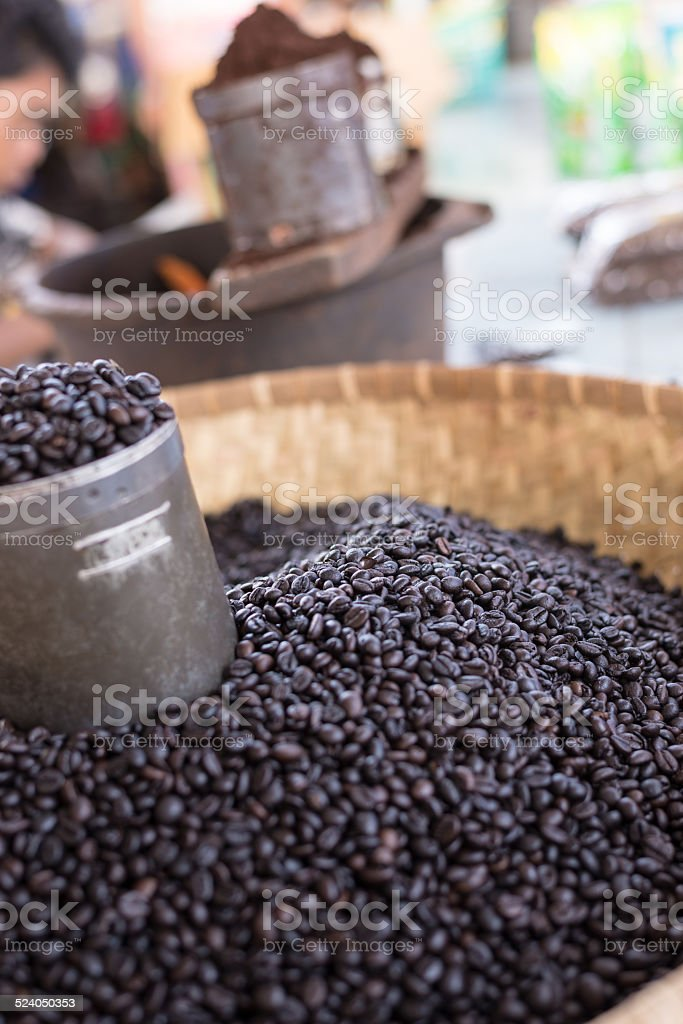 Indonesian black coffee on sell stock photo