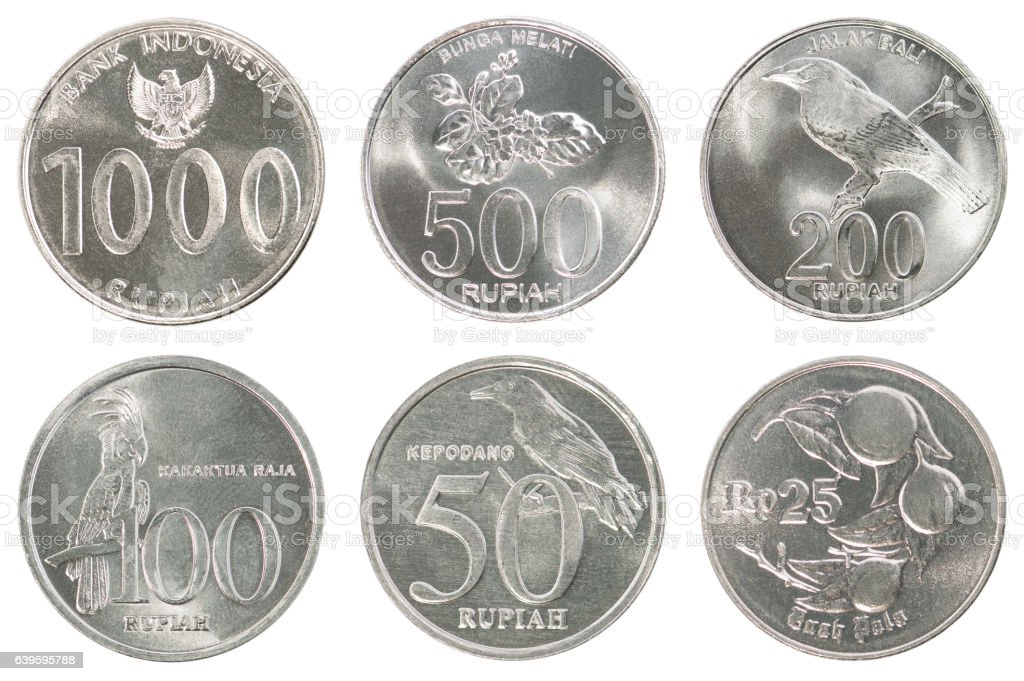 Indonesian coin set stock photo