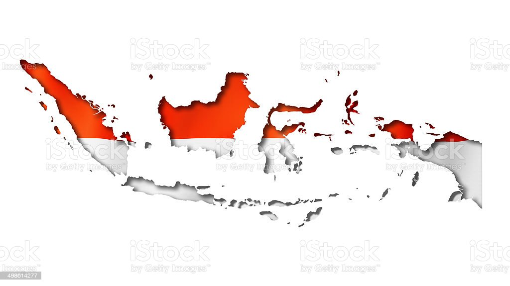 Indonesian flag map stock photo