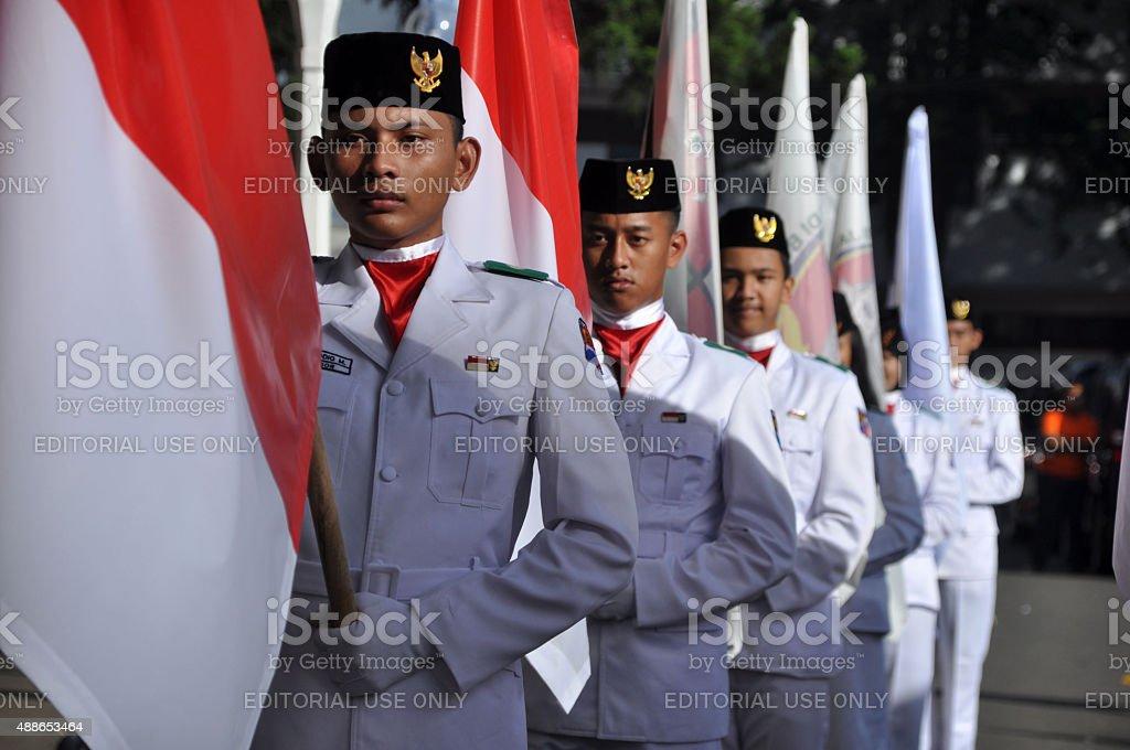 Indonesian Flag Raisers stock photo