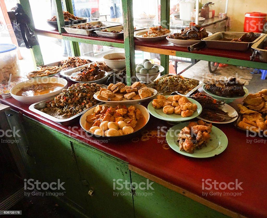 indonesian food warteg restaurant traditional in indonesia stock photo
