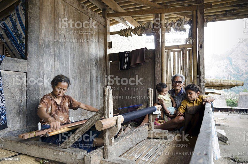 Indonesian grandma, grandpa and kids stock photo